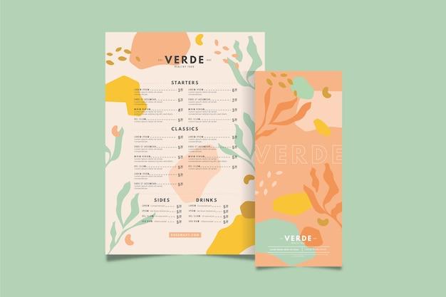 Colourful healthy food restaurant menu