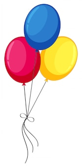 Colourful helium balloons on white background