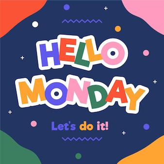 Colourful hello monday background Free Vector