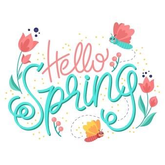 Красочная привет весна надписи с нарисованными цветами