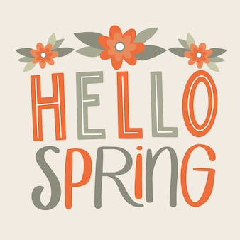 Красочная привет весна надписи