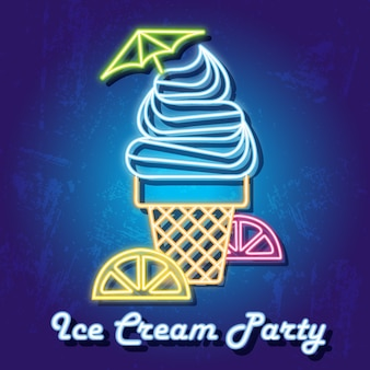 Colourful ice cream party neon sign