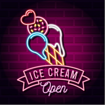 Colourful ice cream with neon lights