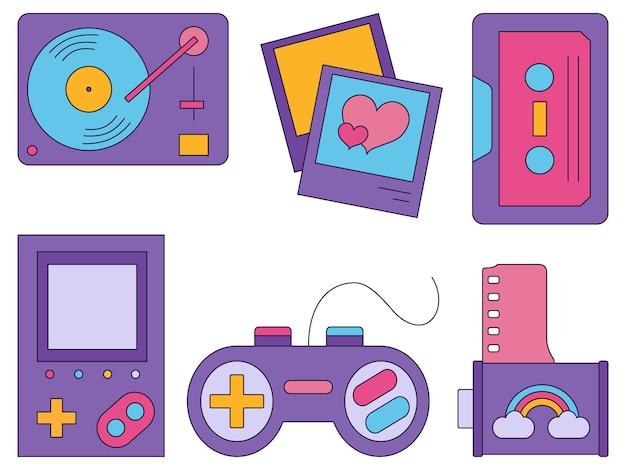 Красочный набор иконок 90-х годов в плоском стиле, изолированные на белом фоне
