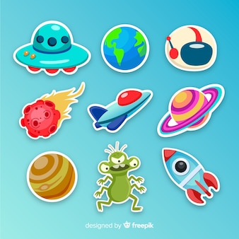 Colourful illustrated space stickers collection