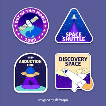 Colourful illustrated space stickers set
