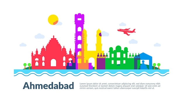 Colourful illustration of ahmedabad skyline