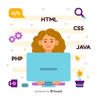 Colourful illustration of female programmer doing her job