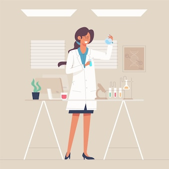 Colourful illustration of a female scientist