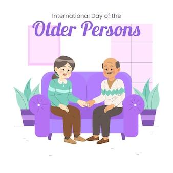 노인의 국제 날의 다채로운 그림