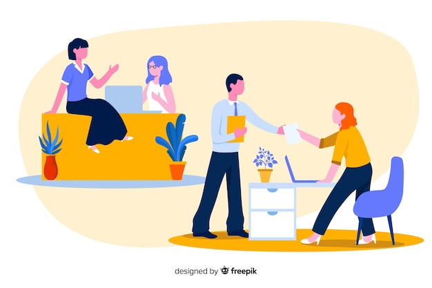 Colourful illustration of office workers sitting at desks