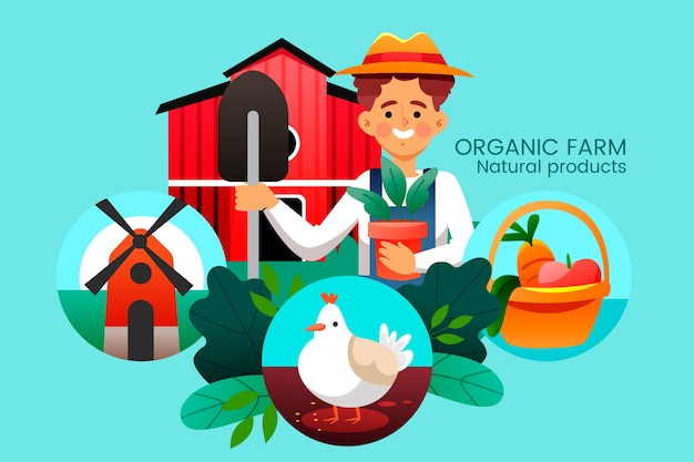 Colourful illustration of organic farming concept