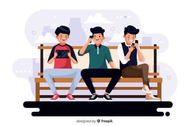 Colourful illustration of people looking at their phones
