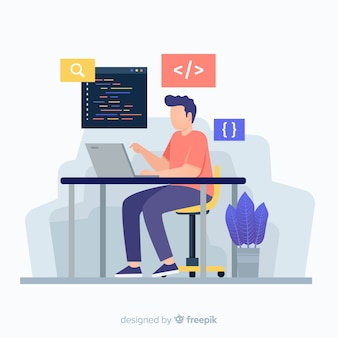 Colourful illustration of programmer working