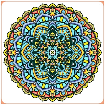 Красочное индийское искусство мандалы с цветочными мотивами
