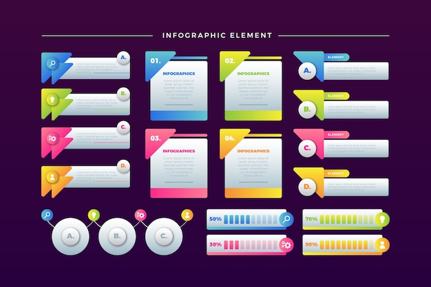 Colourful infographic element collection on modern background