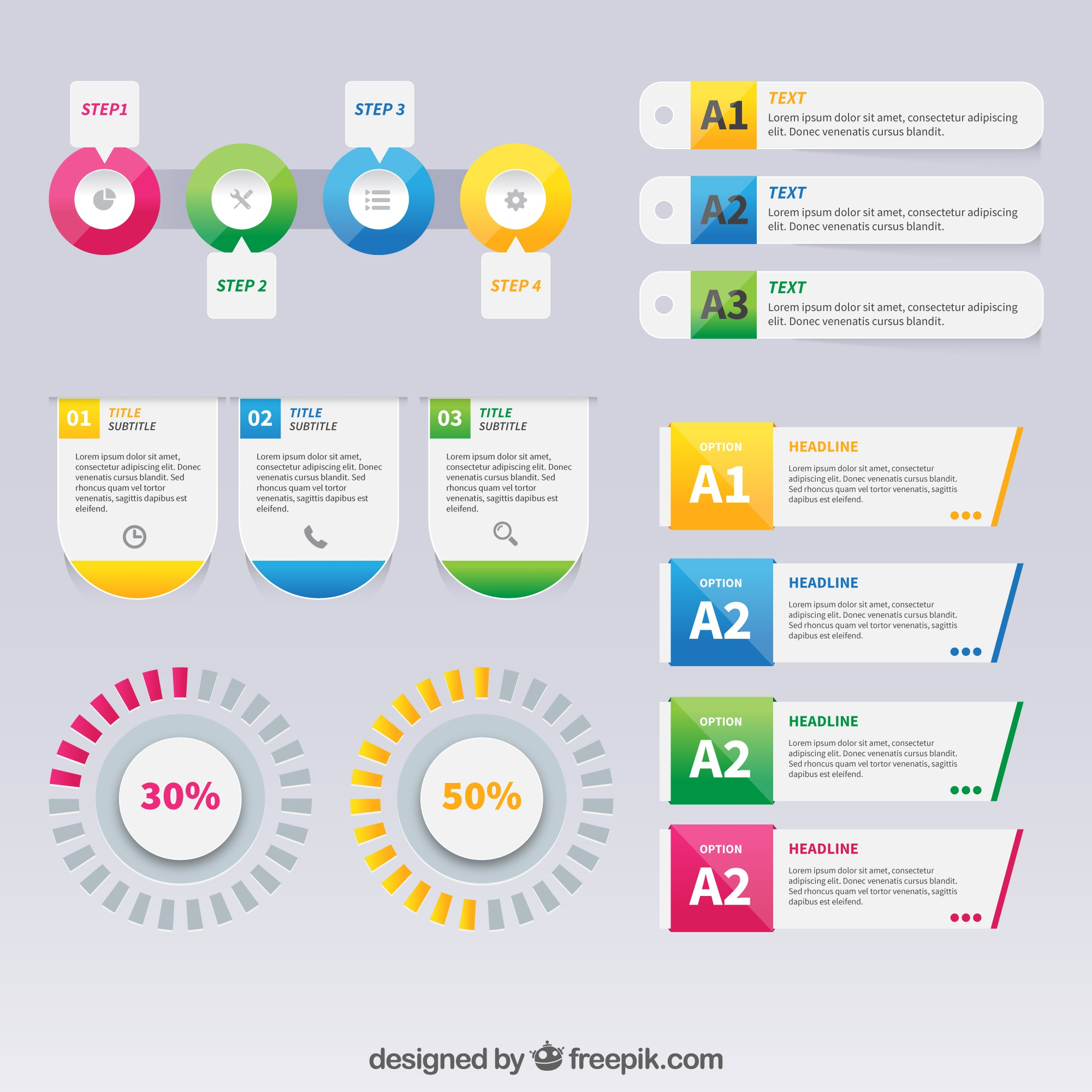 Colourful infographic elements with gradient effect
