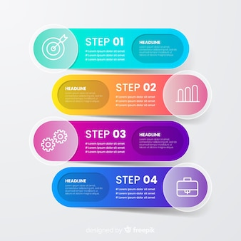Colourful infographic steps concept