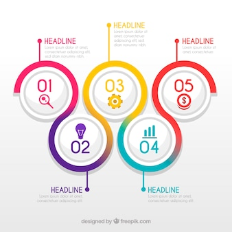 Colourful infographic steps