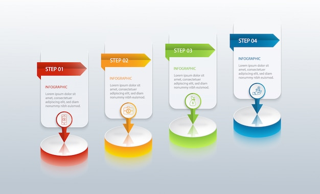 Colourful infographic with 4 options