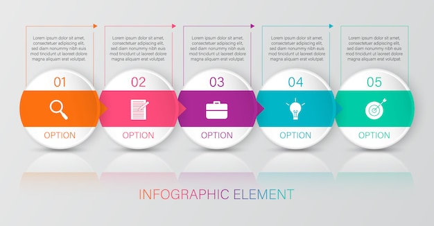 Colourful infographic with 6 text boxes
