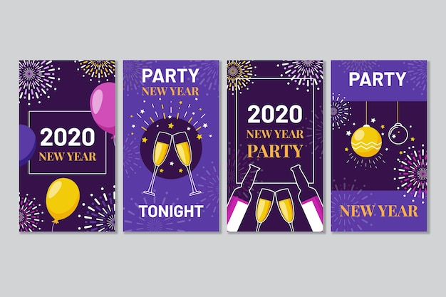 Colourful instagram post 2020 new year with champagne and balloons
