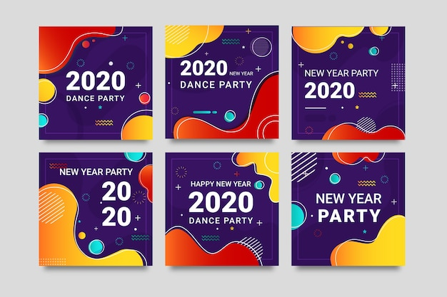 Colourful instagram post 2020 new year with liquid effect