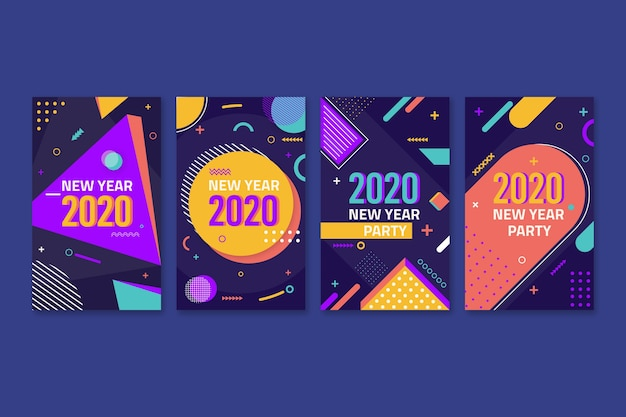 Colourful instagram post 2020 new year with memphis effect
