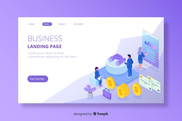 Colourful isometric marketing landing page