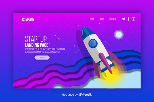 Colourful isometric startup landing page template