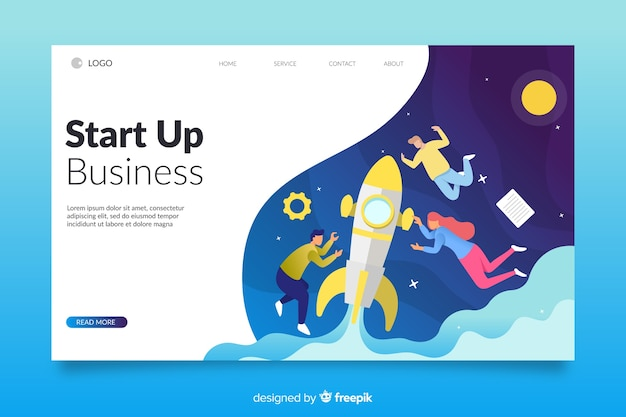 Colourful isometric startup landing page