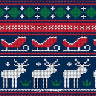 Colourful knitted christmas pattern