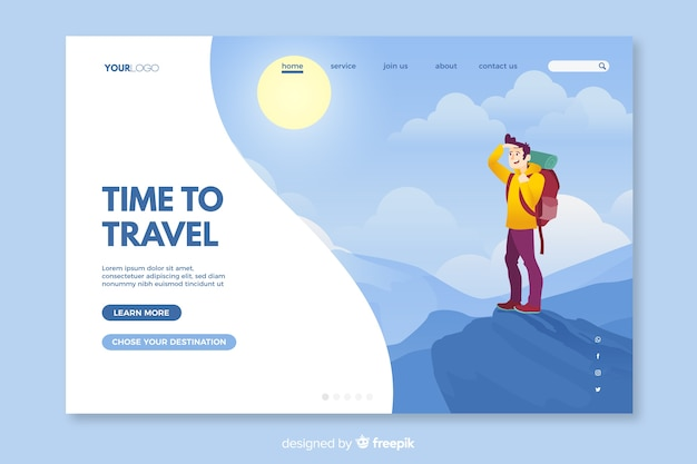 Colourful landing page for travelling enthusiasts