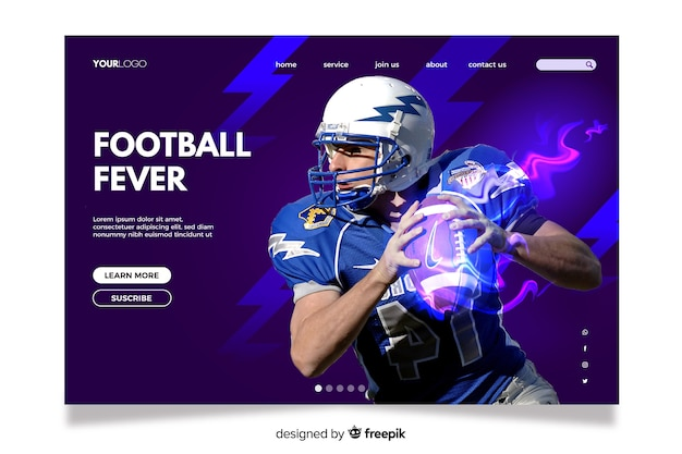 Colourful landing page with photo for sport enthusiasts