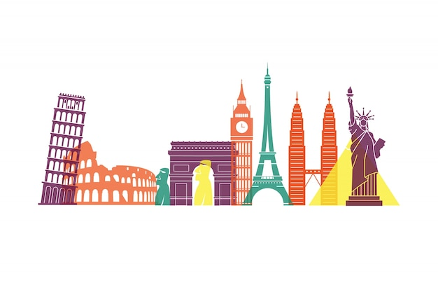 Colourful landmarks skyline all around the world