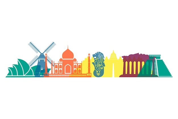 Colourful landmarks skyline worldwide