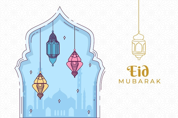Colourful lanterns hand drawn eid mubarak