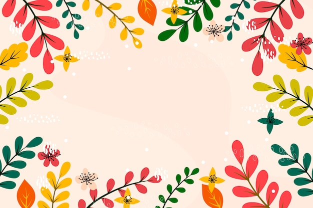 Colourful leaves flat design copy space frame background