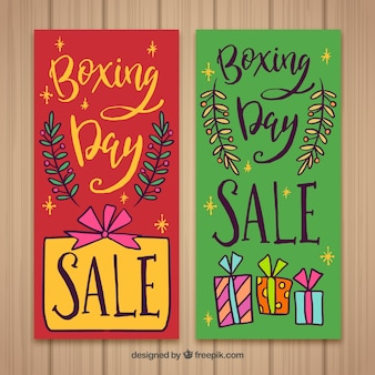 Colourful lettering boxing day sale banner