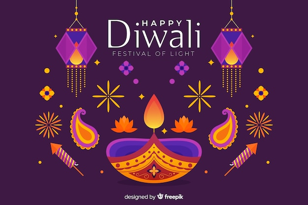 Colourful lights flat diwali background