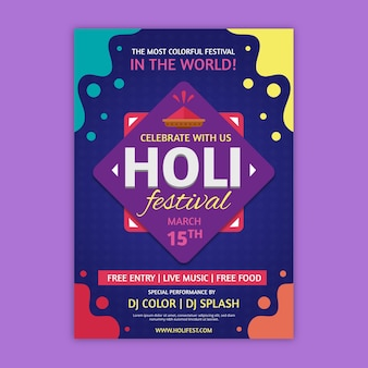 Colourful liquid effect holi festival poster