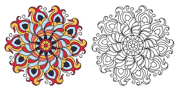 성인과 어린이를위한 다채로운 만다라 색칠 공부 페이지