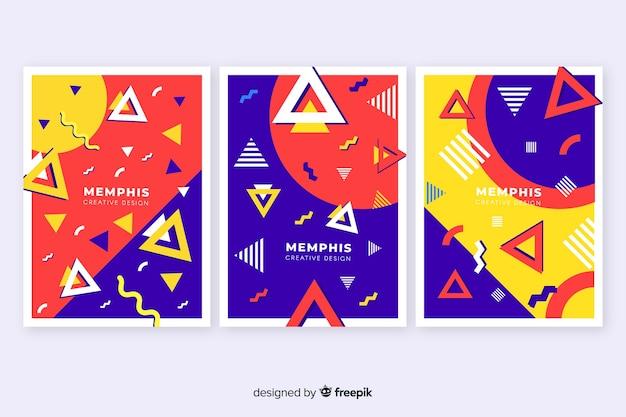Collezione di copertine colorate di memphis Vettore gratuito