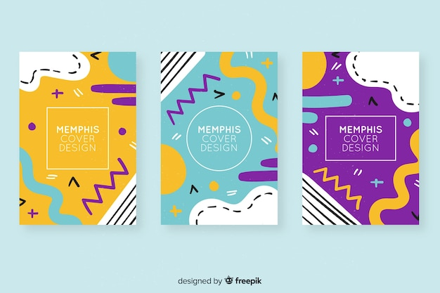 Colourful memphis covers collection Premium Vector
