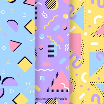 Colourful memphis pattern collection