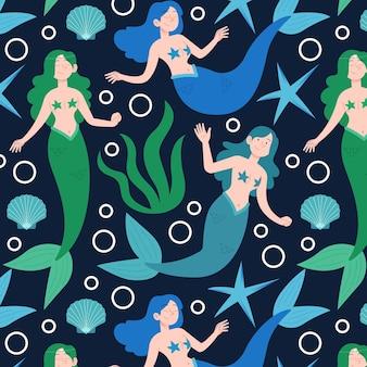 イラストのカラフルな人魚パターン
