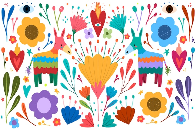 Colourful mexican background with flowers