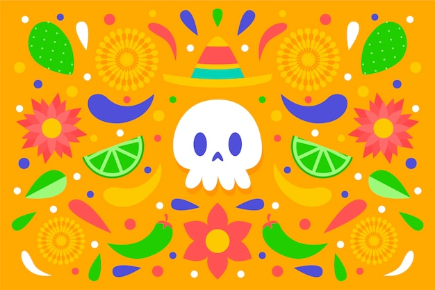 Colourful mexican background with front view skull