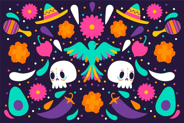 Colourful mexican background with skulls and bird