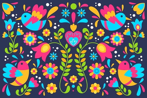 Colourful mexican flowers and birds background